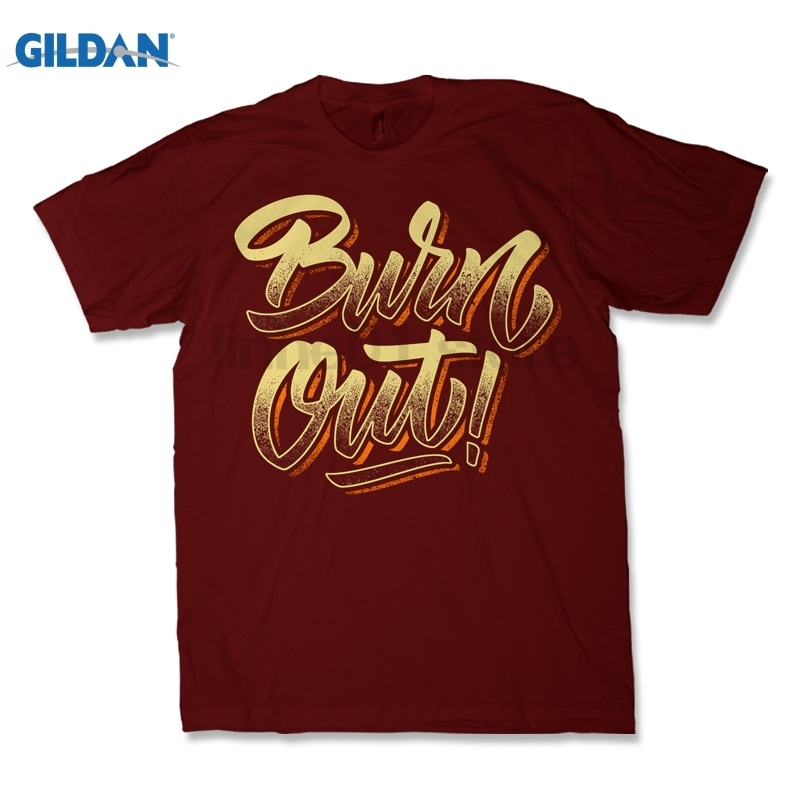 GILDAN BURN OUT Lettering Dress female T-shirt ...