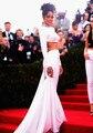 Custom Made Met Gala Rihanna gola alta manga comprida vestido de duas peças vestido de baile abrir voltar celebridade vestido de noite