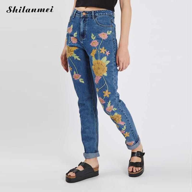 Rose embroidered jeans woman pocket design blue denim