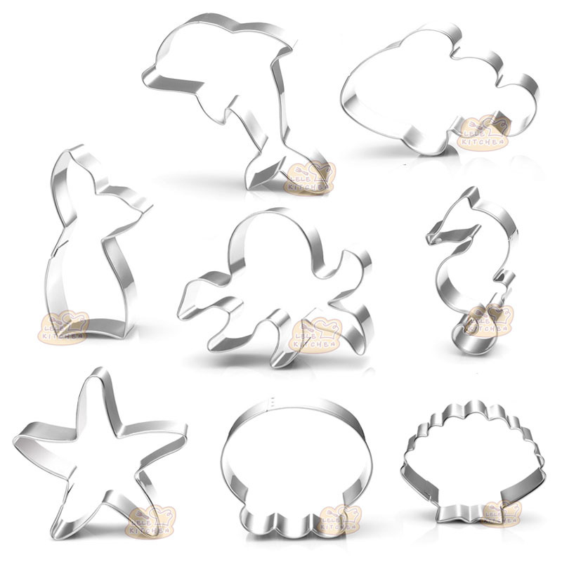 Ocean Animals Cookie Cutters Shell Starfish Seahorse Dolphin Shape Biscuits Fondant Tools K009