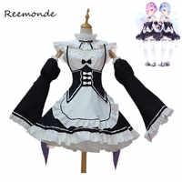 Re Null Kara Hajimeru Isekai Seikatsu Ramu RAM Remu REM Maid Schürze Kleid Frauen Mädchen Outfit Uniform Anime Cosplay Kostüme