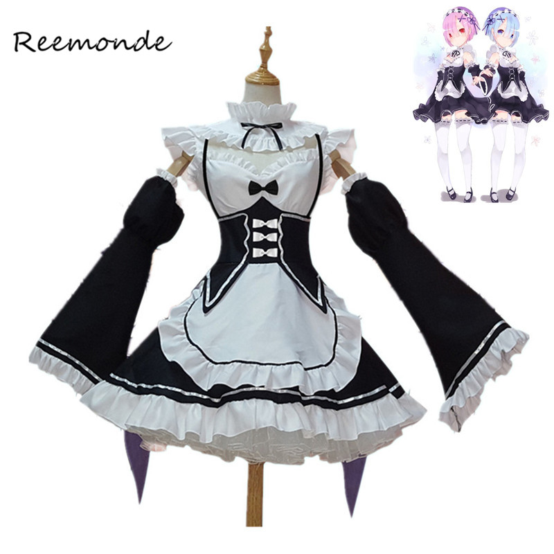 Re Zero Kara Hajimeru Isekai Seikatsu Ramu RAM Remu REM Maid Apron Dress Women Girls Outfit Uniform Anime Cosplay Costumes