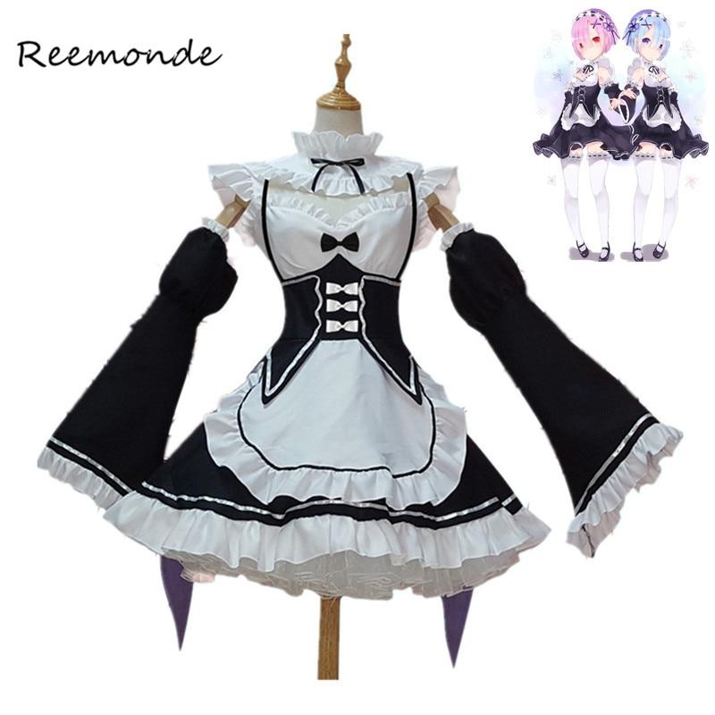 Re zero kara hajimeru isekai seikatsu ramu ram remu rem avental de empregada vestido feminino meninas uniforme anime trajes cosplay