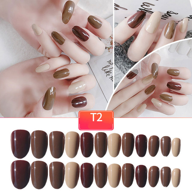 24pc Long Size French Nails Simply Shiny Brown False Nail Tips Coffee Color Design