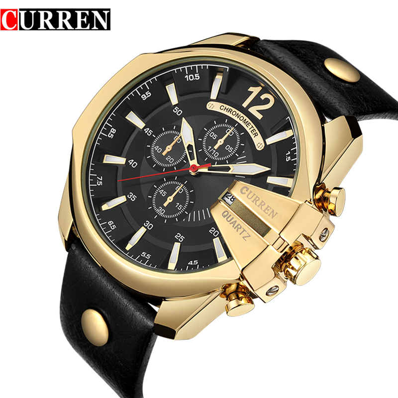 Prix pour Nouveau montres hommes curren marque de luxe de mode hommes de quartz montre date étanche sport homme horloge montre-bracelet militaire armée