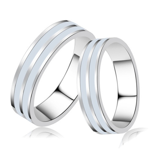 Tienda Online Par plata de ley 925 anillo de bodas mujer u hombre anillos de compromiso pareja Promise Band oro blanco lleno blanco negro esmalte