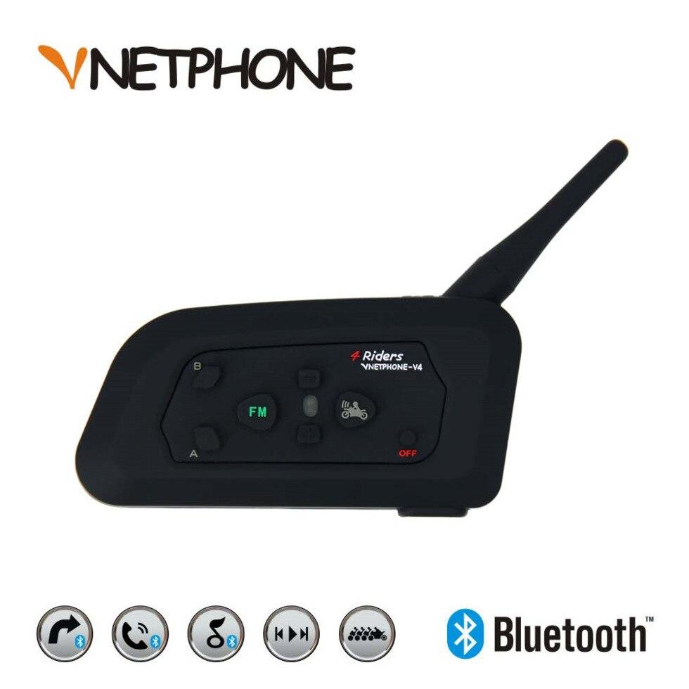 VNETPHONE 4 Coureurs V4 Moto Accessoires casque bluetooth casque intercom Étanche Soutien Smartphone FM Radio USB