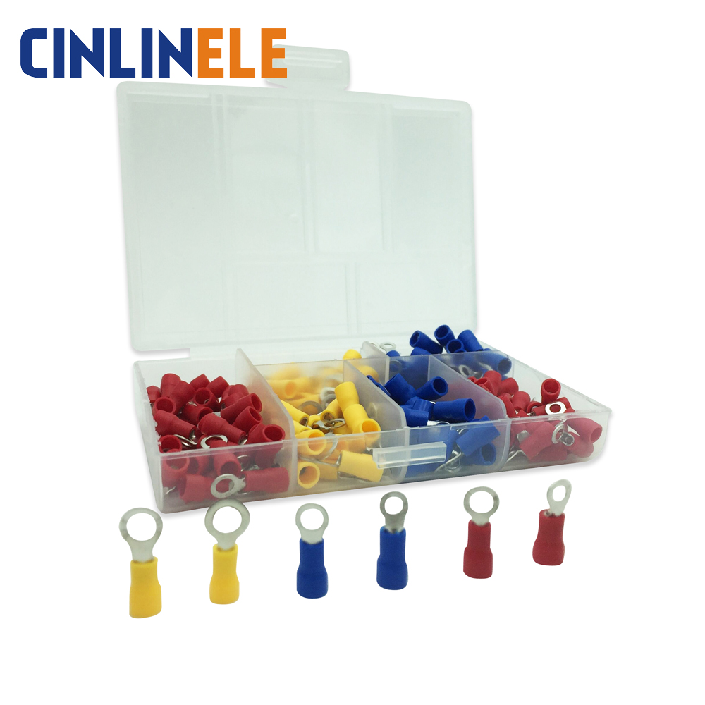 190pcs/lot 6-different Crimp Terminal Ring connector kit set Wire Copper Crimp Connector Insulated Cord Pin End Terminal 100pcs lot e0508 bootlace cooper ferrules kit set wire copper crimp connector insulated cord pin end terminal
