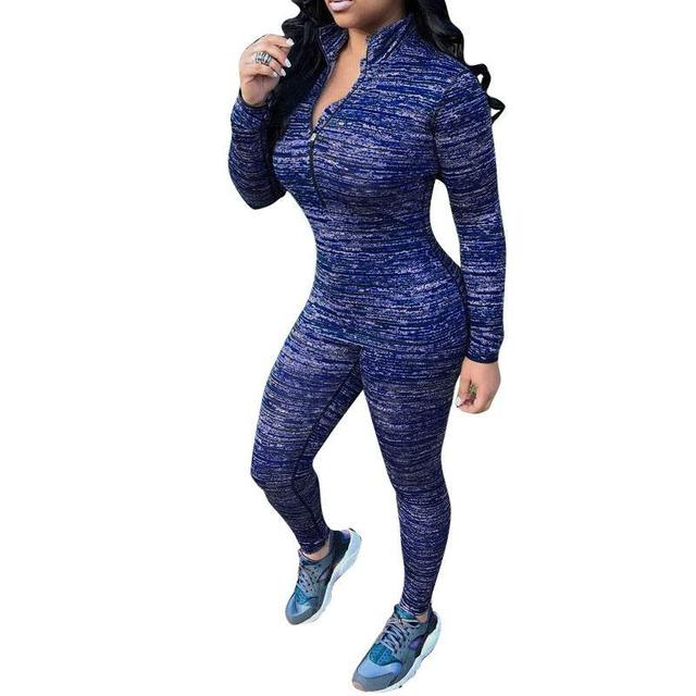 Women sexy zipper suit 2016 New Fashion Autumn winter Style Pants + tops Bodycon Suit 2 Piece Outfits Party Womens Clothing Set