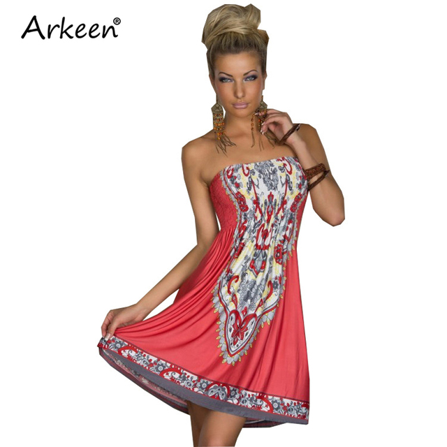 Arkeen Classic 2017 Bohemian Off Shoulder Wrap Dress Boho Backless ...