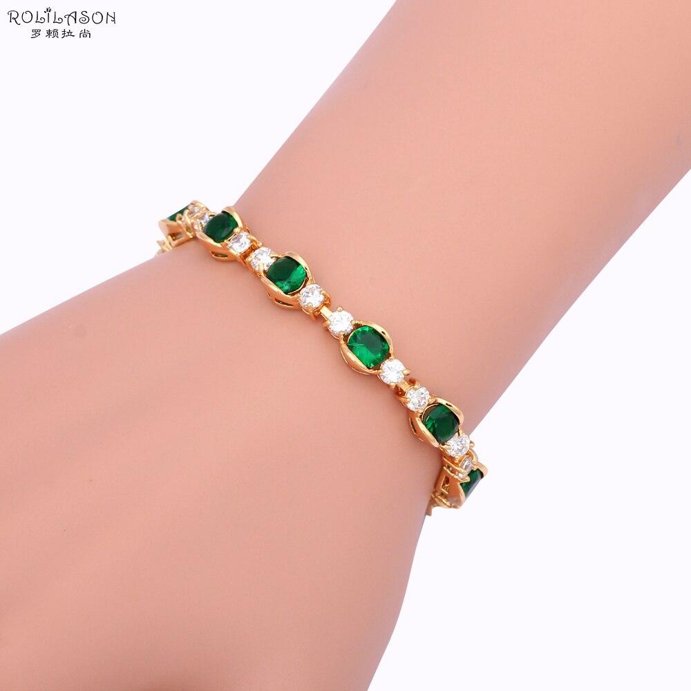 ROLILASON Ausgezeichnete Inlay goldene Kosten Preis Charme Armbänder Grün und weiß Zirkon modeschmuck TBS990
