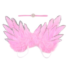 Infant Newborn Baby Photo Prop Costume Cute Angel Wings+Pear Bead Flower Headband Photography Props Boy Girls Accessories