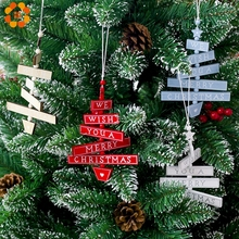 1PCS Merry Christmas Colorful Wooden Pendants Ornaments Kid Gift Xmas Tree Ornament Wood Crafts For Party Decoration