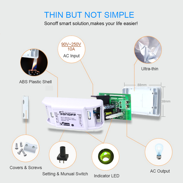 ITEAD Sonoff Basic WiFi Smart Switch Wireless Home Automation Relay Module Domotica DIY Remote Controller Works with Nest Alexa 5