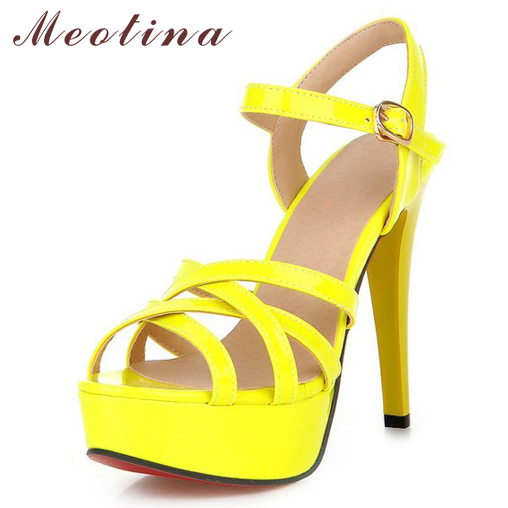 все цены на Meotina Women Shoes Summer Sandals Platform High Heel Sandals Gladiator Party Shoes Thin High Heels Female Cutout Yellow Shoes