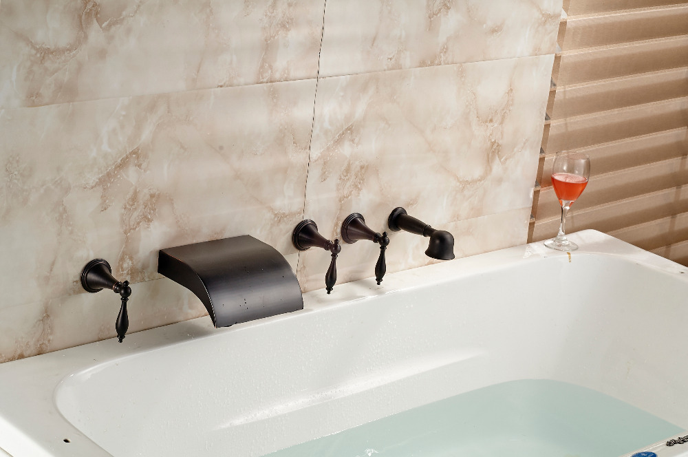 Luxury Oil Rubbed Bronze Wall Mounted Bathroom Tub Faucet W/ Hand Shower Mixer