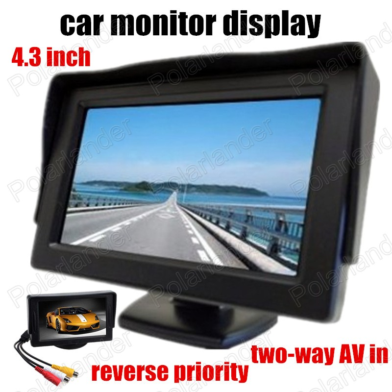 4.3 Inch color TFT LCD Car Monitor With 2Ch Video Input For Rear View Camera Or DVD reverse priority