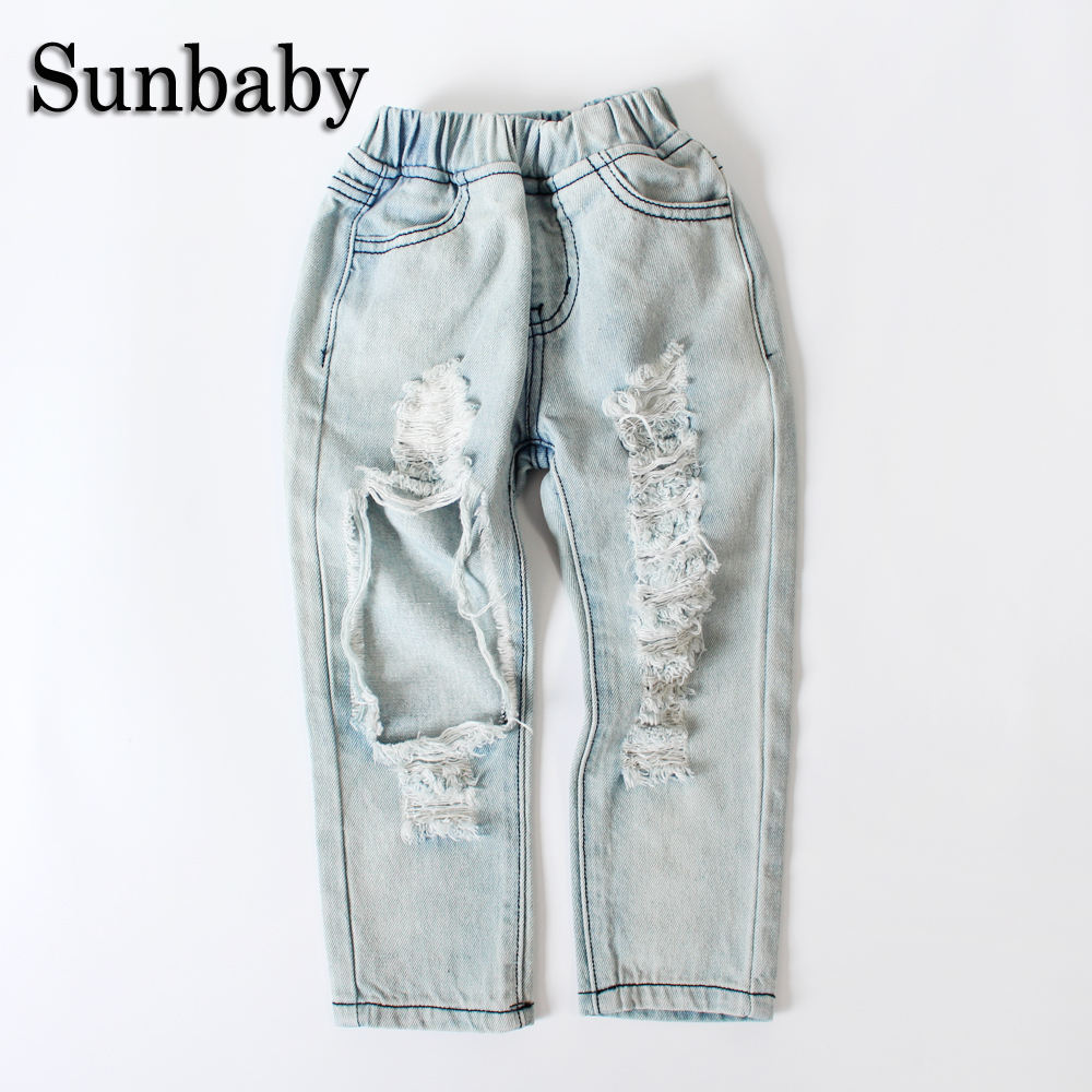 Sunbaby Summer Big Hole Broken Light Blue Jeans Kids Skinny Elastic Waist Baby Jeans