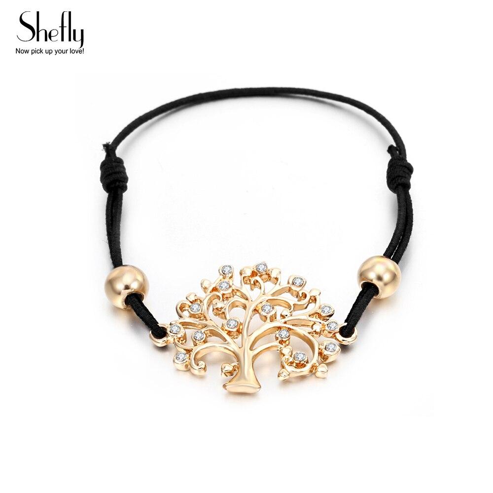 Women CZ Crystal Stones Bracelets & Bangles Adjustable Black String With Wish Life Tree Charm Bracelets Gift Women Lucky Jewelry
