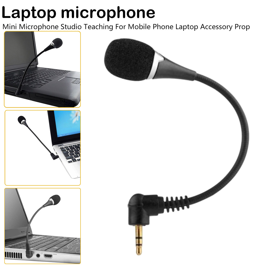 Mini 3.5mm Hands-Free External Headset Microphone Flexible Microphone For Phone Laptop Lecture Teaching Conference Studio Mic