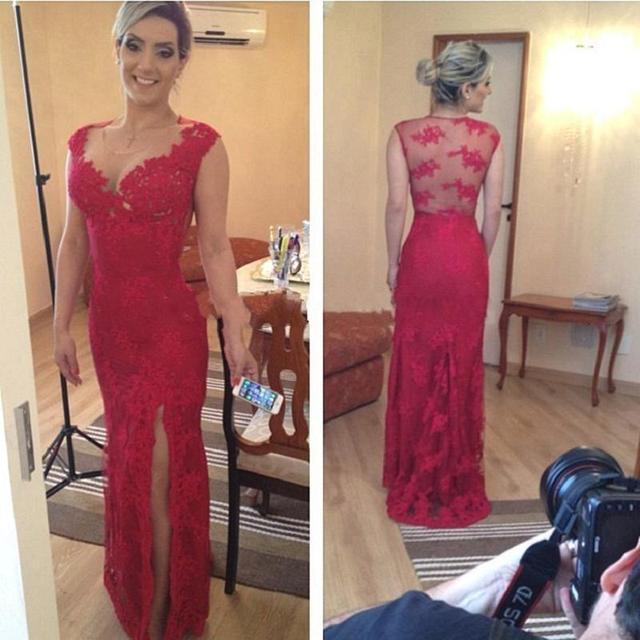 Темно-Красный Кружева Оболочка Мать Невесты Платья Сплит Сторона See Through Вернуться Cap Рукавом Вечернее Платье Для Пляжа Свадьбы