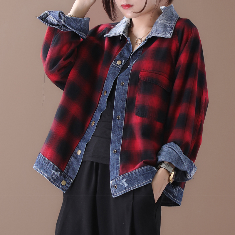 [EWQ] 2019 Autumn New Pattern Office Lady Style Full Sleeve Loose Lattice Turning Vintage Frayed Covered Button Denim Coat AF887