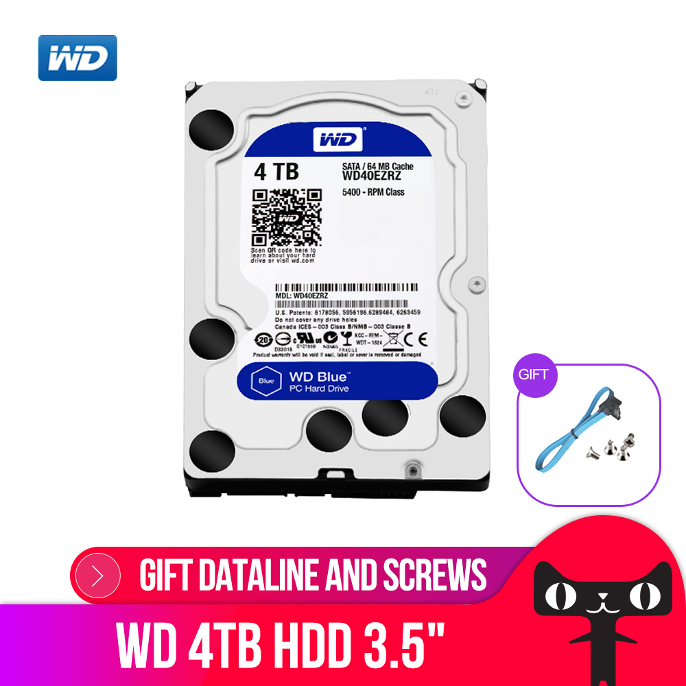 WD Western Digital Blue 4 TO Hdd Sata 3.5 ''Disque Dur Interne Disque Dur Disque Dur Disque Dur Disque Dur De Bureau pour PC