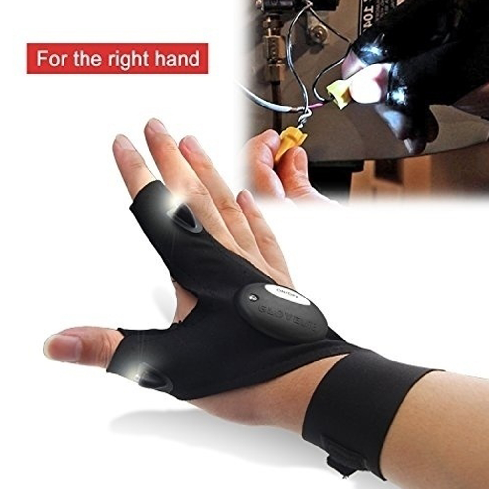 Outdoor Waterproof Fishing Rescue Working Gloves Fingerless Glove with Hands Free Led Flashlights Torch Index Finger Gloves HS