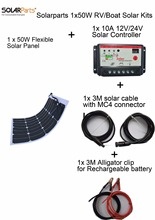 Solarparts 1x50W DIY RV/Boat Kits Solar System 1 x50W flexible solar panel 1x 10A solar controller 1 set 3M MC4 cable 1 set clip