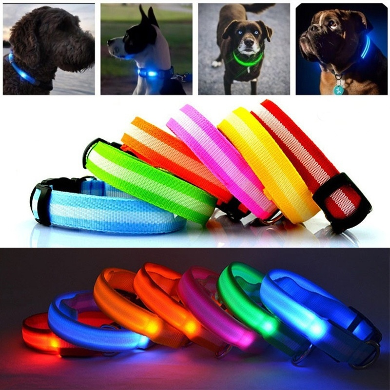 USPS Shipping 8 Color S M L Size Glow LED Dog Pet Cat Flashing Light Up Nylon Collar Night Safety Collars Supplies Dropship doglemi dm40024 m led nylon collar for pet dog green size m