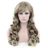 Soowee Synthetic Hair Long Wavy Brown Mixed Blonde Color Cosplay Wigs Party Hair Wig Headwear Hair Accessories for Women