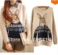 European style women fashion cute rabbit print  Sweaters pullovers girl student lovely  Sweaters pullovers