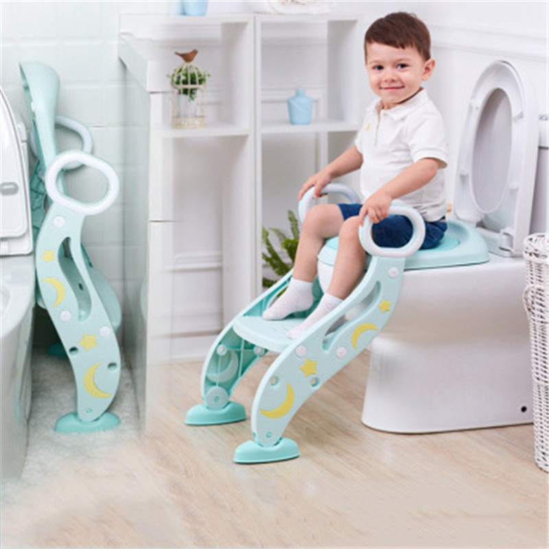 Baby Training Potty Child Detachable Anti-slip Handle Potty PVC PU Soft Pad Seat with Adjustable Ladder Kid Folding Toilet Potty potty power