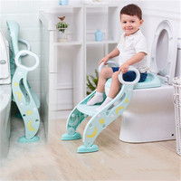 Baby Training Potty Child Detachable Anti slip Handle Potty PVC PU Soft Pad Seat with Adjustable Ladder Kid Folding Toilet Potty