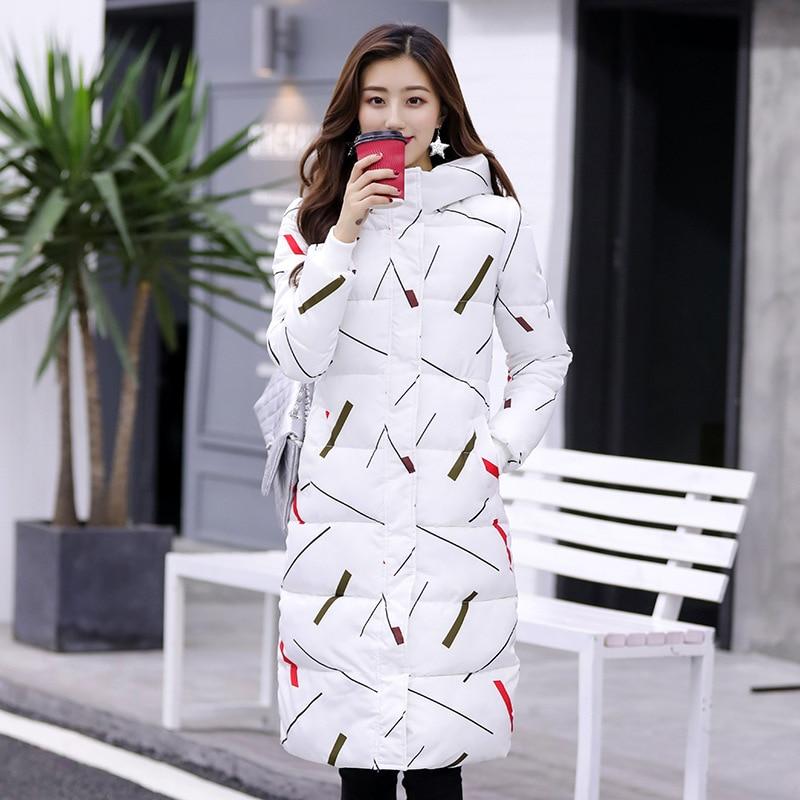 ZitherGo 2018 New Fashion winter jackets women coat Slim Lengthen clothes X-Long   parka   female wadded jacket White black YJT-M813