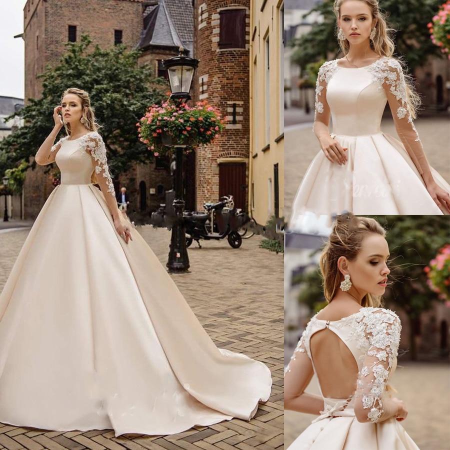 O-neck  Long Tulle Sleeves Beading Lace Applique Ball Gown Wedding Dress Court Train Backless Lace-up Button Vestido De Novia