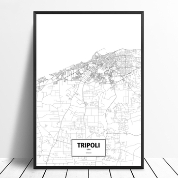 Tripoli Libya Black White Custom World City Map Poster Canvas Print Nordic Style Wall Art Home Decor image