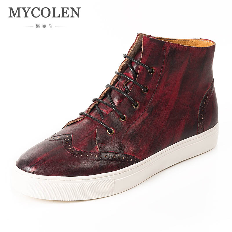 MYCOLEN Spring Fashion Brand Leisure Shoes Luxury Brand Top Fashion Men High Top Shoe Breathable Youth Male Sneaker Quality цена 2017