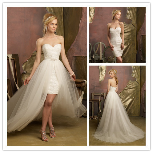 Detachable Sheath Column Wedding Dress Sweetheart Floor Length 2