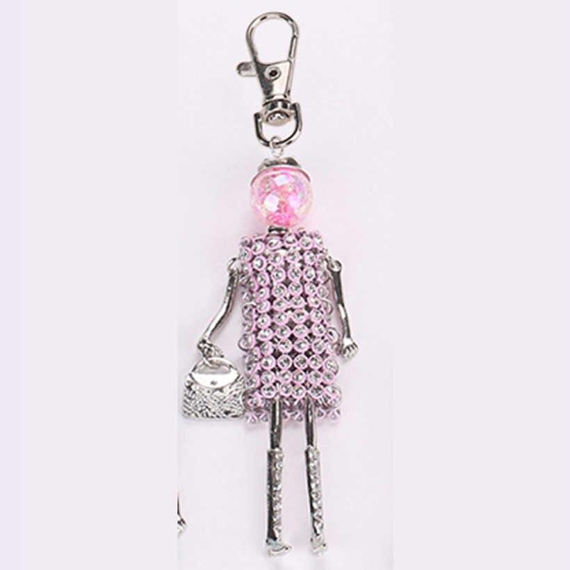 YLWHJJ new phụ nữ dễ thương Đầy Màu Sắc thạch búp bê bag keychain cô gái xe mặt dây chuyền bé pha lê key chains hợp thời trang statement jewelry