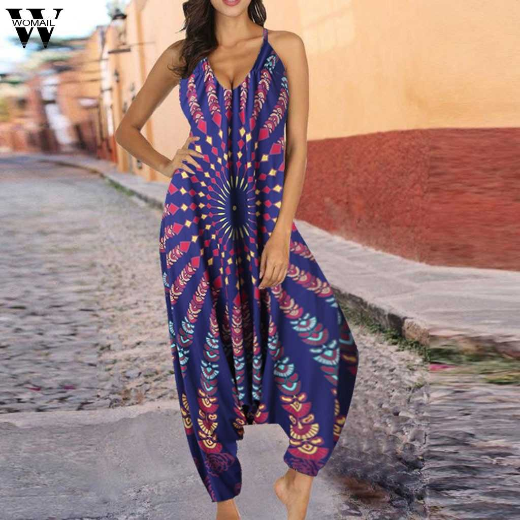Womail Mode Jumpsuit vrouwen Casual Losse Harembroek Hollow Out Chiffon Print V-hals Jumpsuit Voor Dames Dropship May29