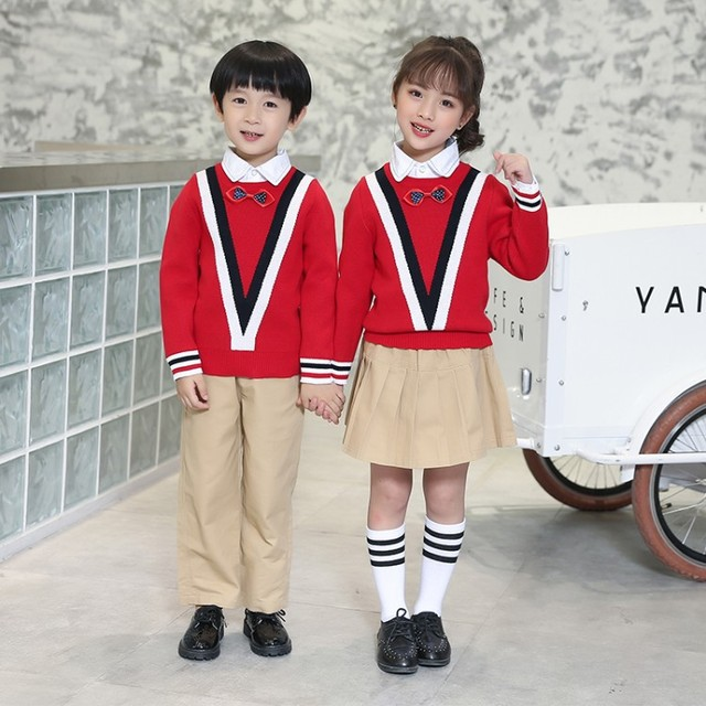 8837 Size 90-180cm Kindergarten Garden Spring Autumn Winter 2019 School Uniform Class Service Three-piece Clothes Set