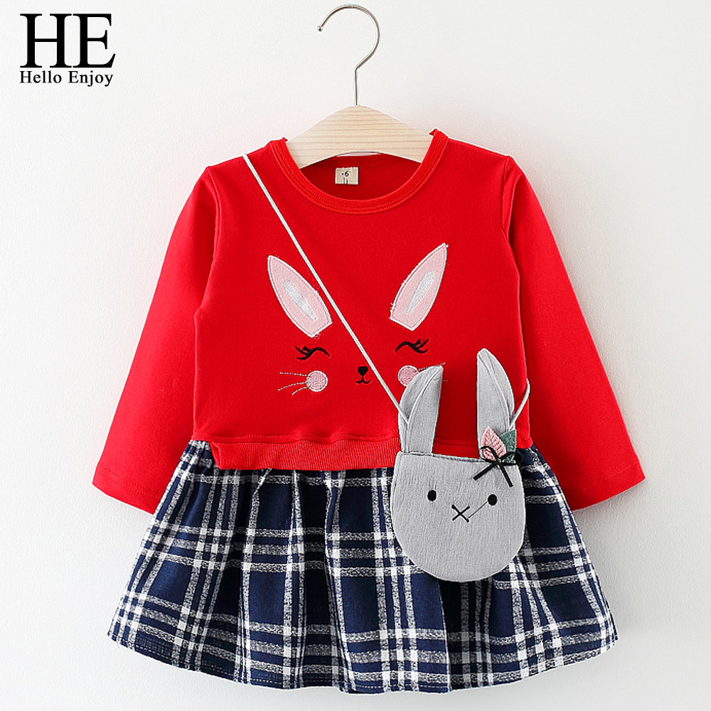 HE Hello Enjoy Newborn Girl Dresses Spring 2018 Cartoon Long Sleeve Red Baptism Patchwork Tutu Dress Baby Girl Clothes Infant