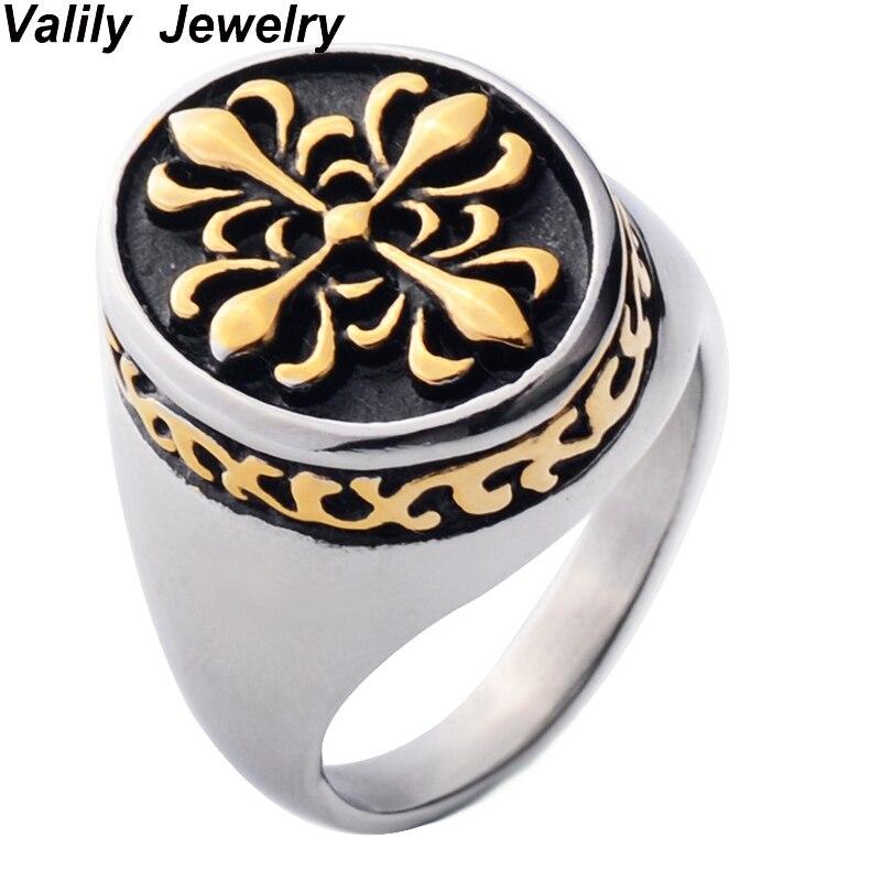 Новое поступление из нержавеющей стали покрытие кольцо цветок крест восстановление древних способов кольцо