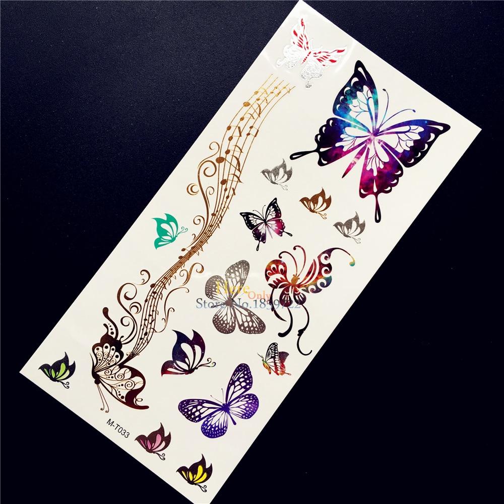 1PC Latest Flash Gold Metallic Tattoo Melody Butterfly Design Body Art Waterproof Henna Flower Arm Tempoary Tattoo Sticker HGM33