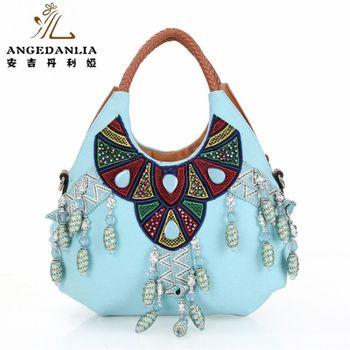 fec93a170f8e Холст сумки оптом синий цвет vintage с бисером богемный Бохо сумка хлопок  Ткань мешок национальной в народном стиле этнические сумки