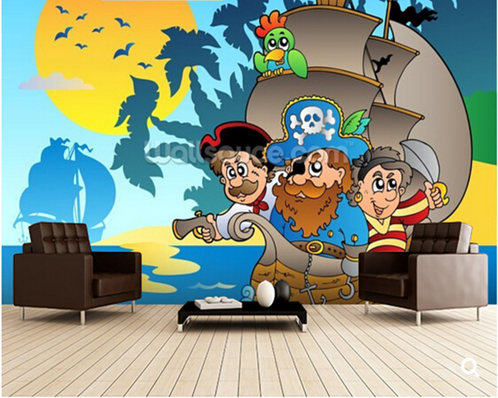 Custom kids wallpaper, Kids Pirates,3D cartoon mural for living room children's room park backdrop waterproof papel de parede custom baby wallpaper snow white and the seven dwarfs bedroom for the children s room mural backdrop stereoscopic 3d