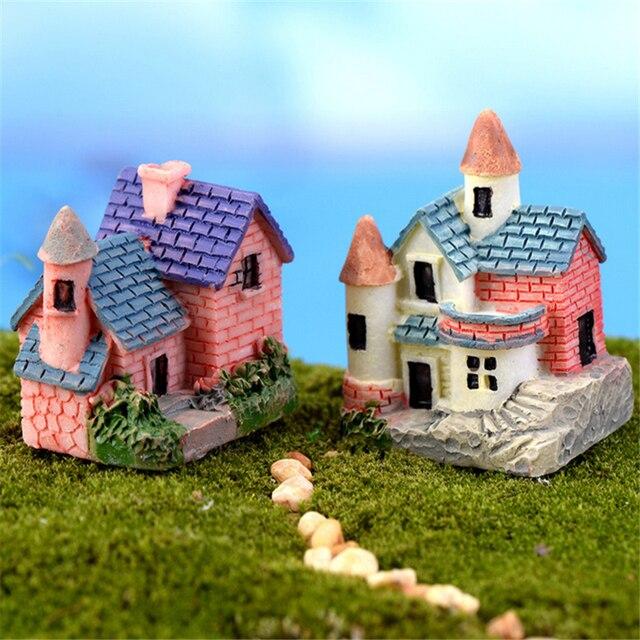 Mini Castle Fairy Garden Miniatures Villa Figurine Castles Terrarium  Figurines Miniature Garden Decoration Fairy Figurines 4Pcs