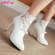 VALLKIN Autumn White Wedding Shoes 2016 Sexy Women Boots Lace Thin High-Heel PU Ankle Boots Pointed Toe Bow Tie Boots Size 34-42(China)