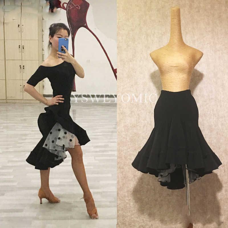 YSWEYOMIC Latin Dance Röcke Klasse Tanzen Kleid Kostüme Tango Samba Bachata Praxis Latin Röcke Dance für Frauen